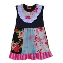 Hot Sale Baby Girls Lovely Dress flower Pattern Sleeveless Kids Clothing Boutique Remake Spring Summer Children Dress DX011
