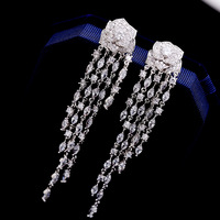 2018 Camellia Flowers Earring Charm Jewelry Famous Luxury Brand Long Tassels Earring For Woman