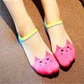 5 par de dibujos animados divertidos calcetines invisibles antideslizante barco calcetines lindos transparentes calcetín para las mujeres niñas summer corta delgada calcetines calcetines