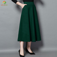 New Winter Skirt Autumn Fashion Women's Long Woolen Skirts A line Wool Skirts 5 Colors Solid Pockets Casual Big Swing Skirts