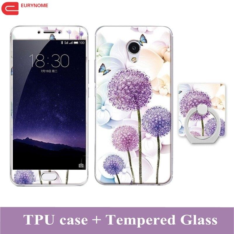 3D kreslený případ pro Meizu MX6 tvrzené sklo prst prst TPU Kickstand silikon vzorované kryt pro Meizu MX5 případ