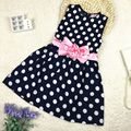 Kids Girls Summer Princess Dress Sleeveless Polka Dots Bowknot Lovely Birthday Party Sundress