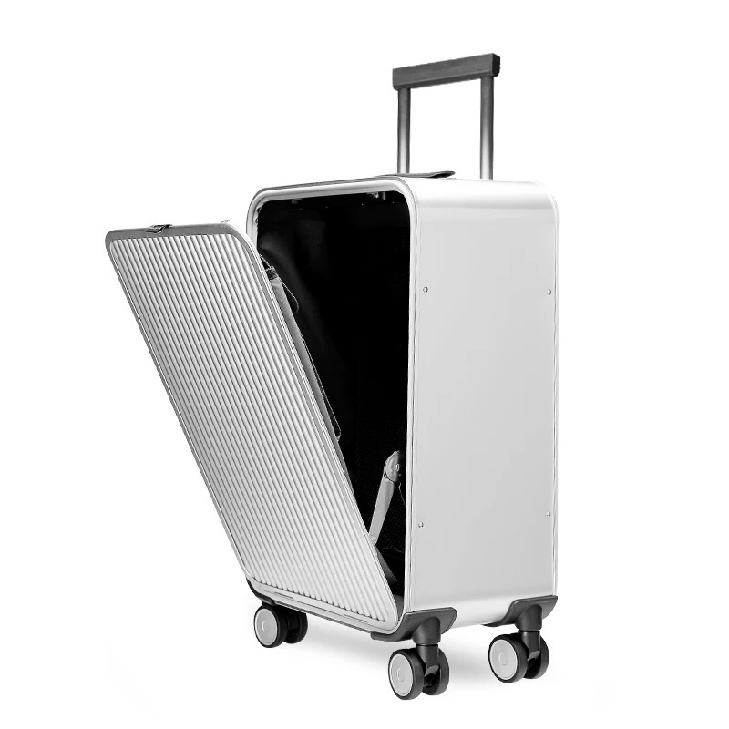 b7a5e639d All Aluminum side open luxury rolling luggage men business computer  suitcase women metal password trolley case