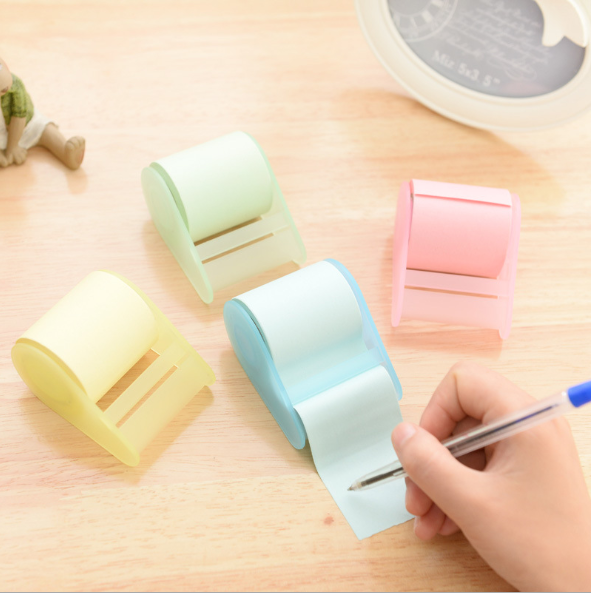 Self-stick Notes Roll Paper Self-adhesive Tape Memo Sticker With Base Stand Mini Office Sticky Note Pad Easy To Rip And Post