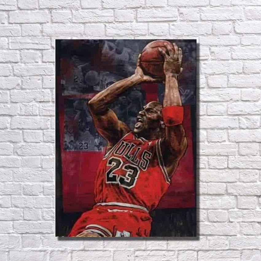 Art moderne photo peint à la main célèbre basket-ball étoile peinture à l'huile sur toile photos murales pour la décoration intérieure pas encadré