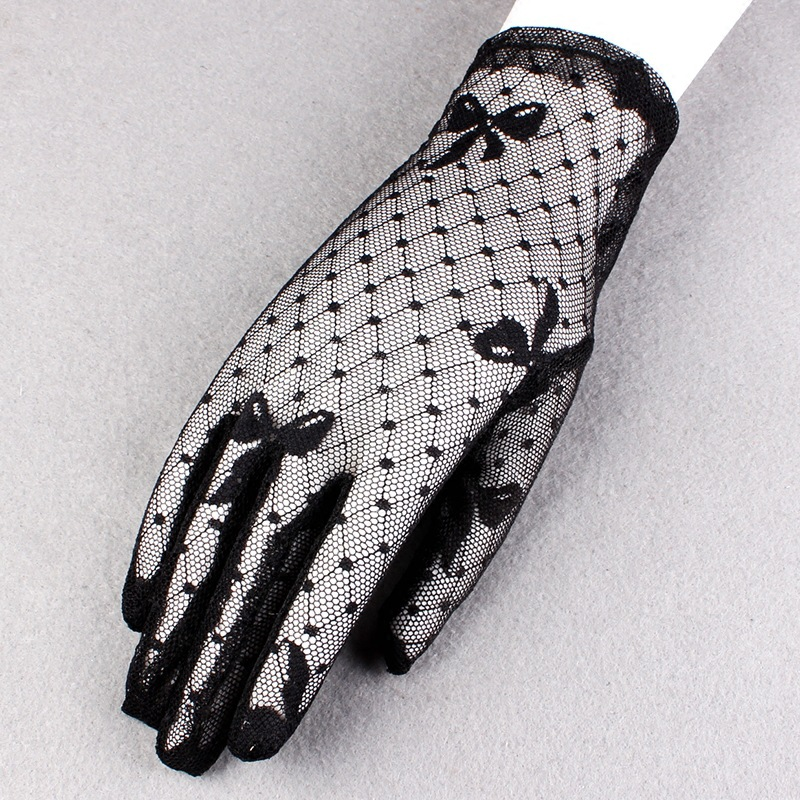 Fashion Sexy Summer Female Full Finger Sunscreen Short Lace Gloves Women Driving Spider Web Pattern Sun Anti-UV Black Gloves C16