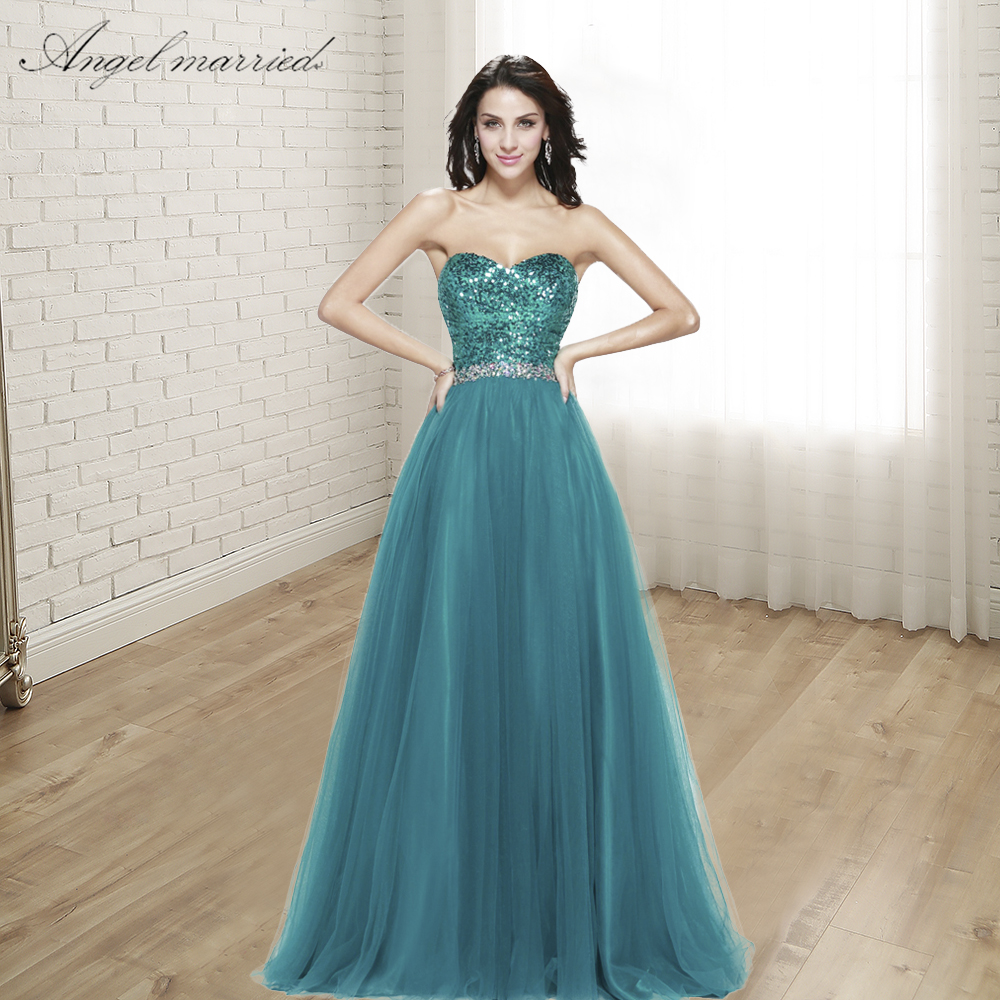 Angel married elegant Evening Dresses sequin long prom gowns women formal party dress pageant dress vestido
