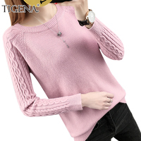 TIGENA 2018 Autumn Winter Women Sweaters And Pullovers Female Long Sleeve Tricot Jumper Women Knitted Tops Pull Femme