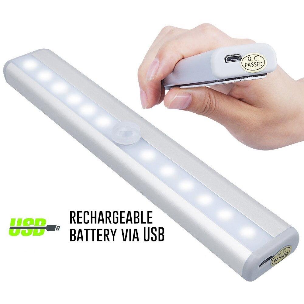 USB Rechargeable 10 LED PIR Motion Sensor Lumière de Nuit Armoire Placard Placard Cabinet Nuit Lumière Lampe de Nuit Avec Magnétique