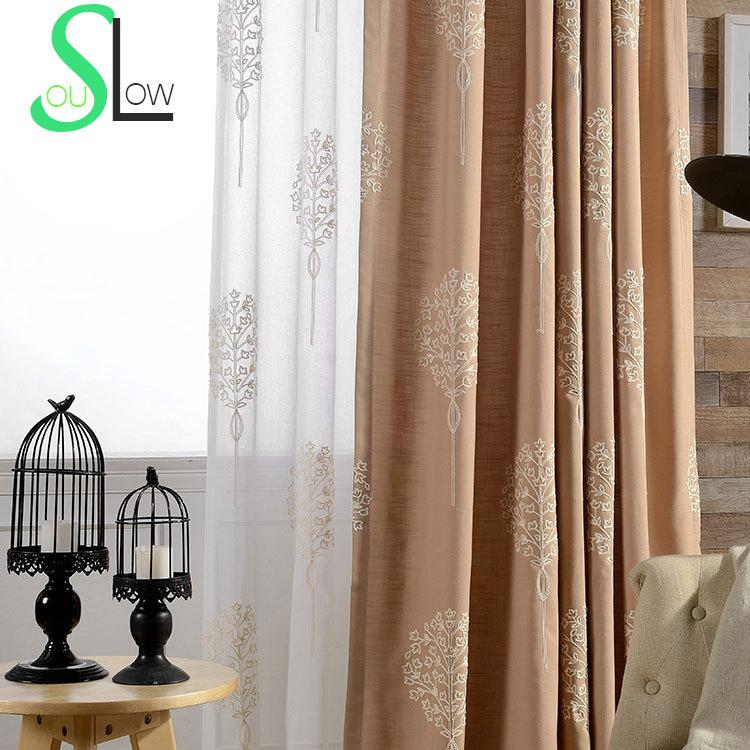 Tree Embroidered Blackout Window Curtain Curtains For Living Room ...