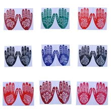 1 Sheet Hot India Henna Temporary Tattoo Stencils For Hand Leg Arm Feet Body Art Decal For Women 15x21cm Color Style Randomly