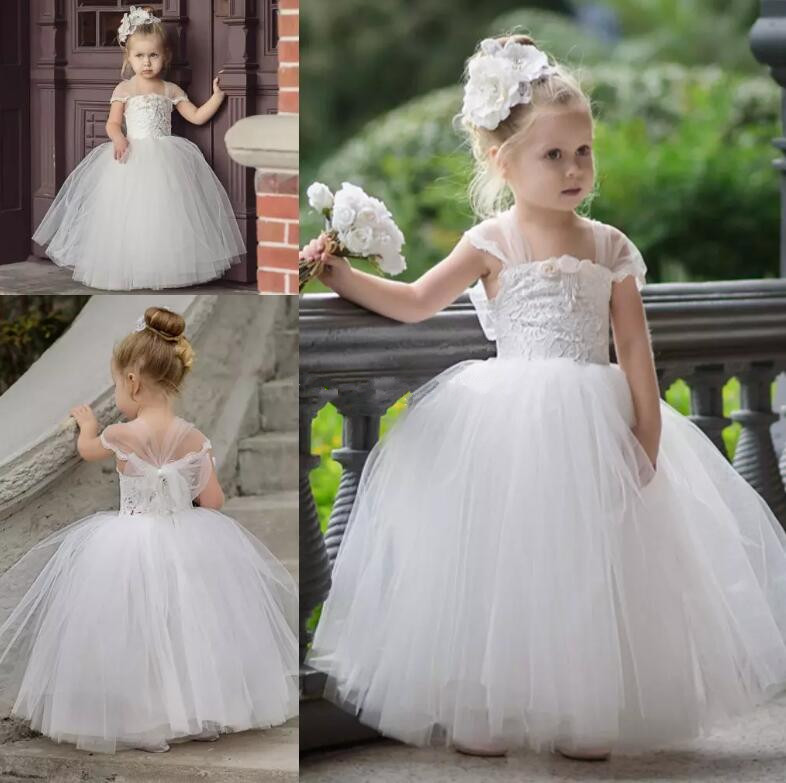 2017 Cute Toddler Flower Girls Dresses For Weddings White Ivory Lace Tulle Baby Girls Birthday Gown Communion Dress