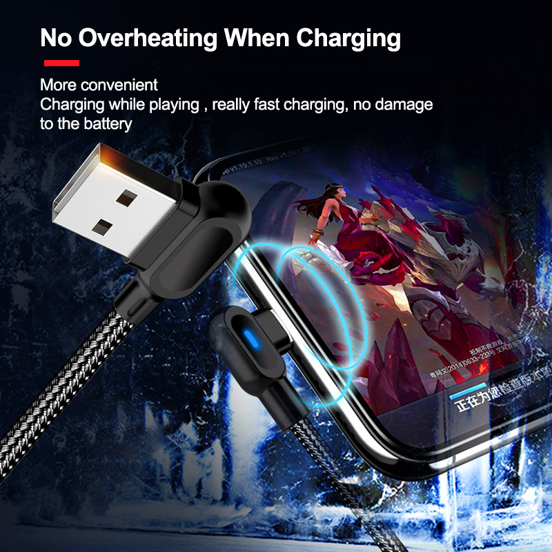 OLAF Micro USB Type C 1M 2M Fast Charging 90 Degree Cable For Samsung S8 S9 S10 Xiaomi Huawei Microusb USB-C Charger Cord Kabel 4