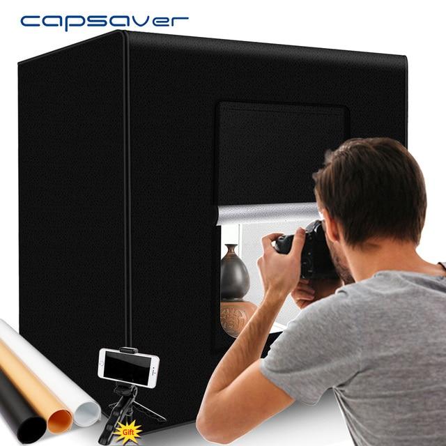 Capsaver M60II 접는 사진 상자 스튜디오 사진 라이트 텐트 60cm Softbox 48W CRI92 라이트 박스 보석 장난감 제품 촬영