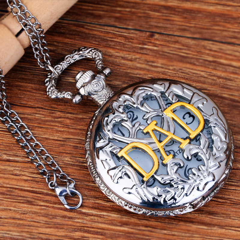 Pocket  Fob Watch Hollow Out DAD Quartz Pocket Watch for Father Day Gift Watch
