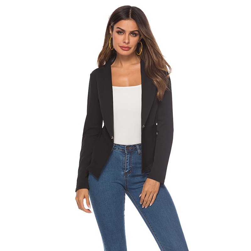 Spring Autumn Slim Fit Women Formal Jackets Office Work Open Front Notched Ladies Blazer Coat Drop Shipping
