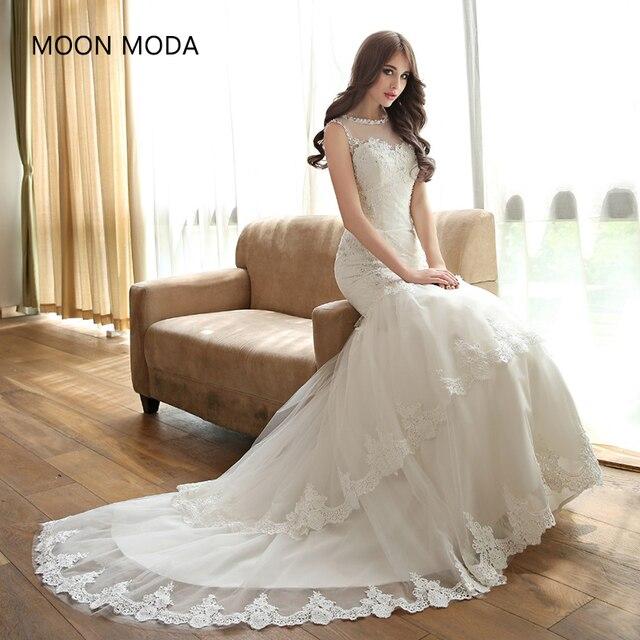 2018 Vestido De Noiva Vintage Lace Mermaid Wedding Dresses Beaded High Quality Crystal Beading Backless Real