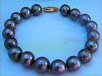 Hot sale new Style >>>>>New 9 10MM AAA+ Huge Natural BLACK Freshwater Pearl Bangel Bracelet 7.5