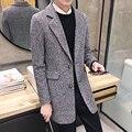 New Coreano lapela casaco longo blusão de lã pura moda maré masculino masculino adolescente casaco solto
