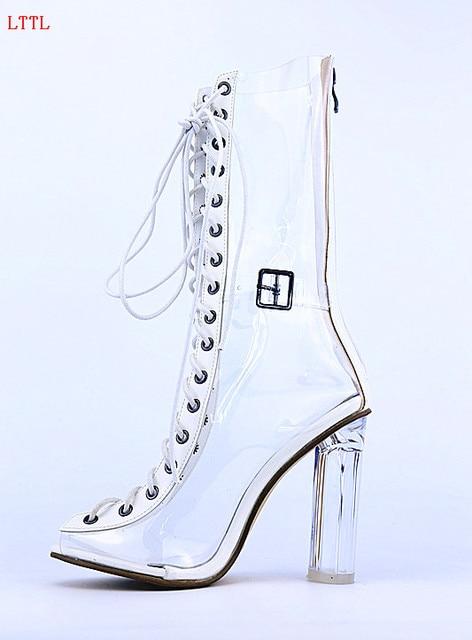 Sexy Peep Toe Plexiglass PVC Transparent Shoes Woman Perspex Clear Heels  Short Booties Back Zipper Lace c78598b08289
