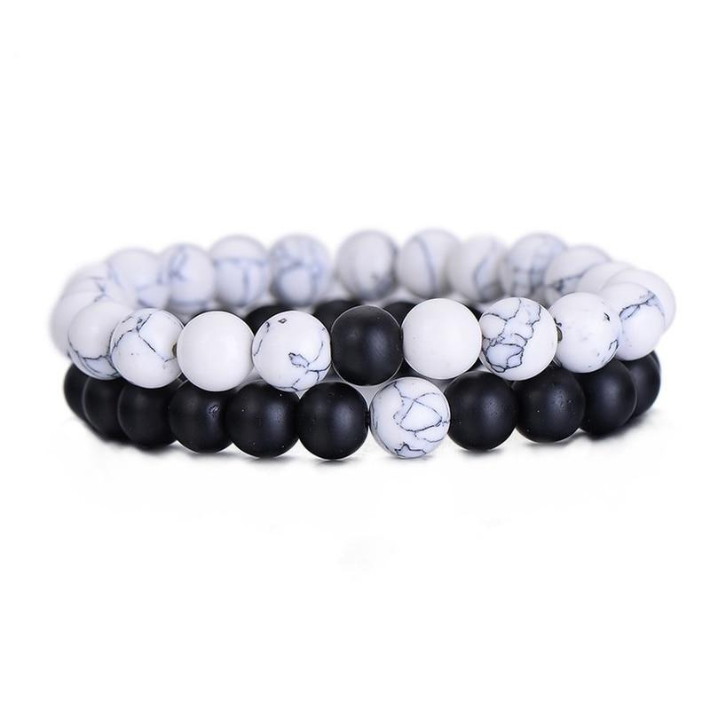 Hot 2PcsSet Couples Distance Bracelet Classic Natural Stone White and Black Yin Yang Beaded Bracelets for Men Women Best Friend