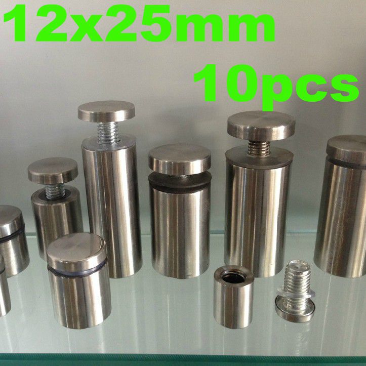 12x25mm 10pcs Stainless Steel Acrylic Advertisement Fixing Screws Barrel Screw Glass Standoff Pin Nails