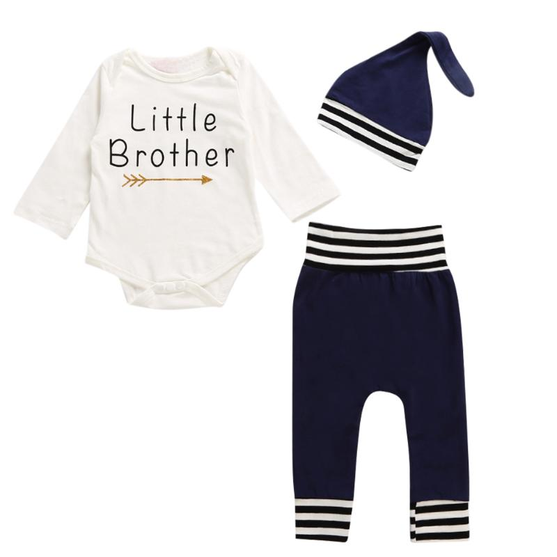 Children Little Brothers Letter Print Long Sleeve Jumpsuit Tops + Pants + Hat Outfits Clothes Baby Boys Girls 3pcs Clothing Set