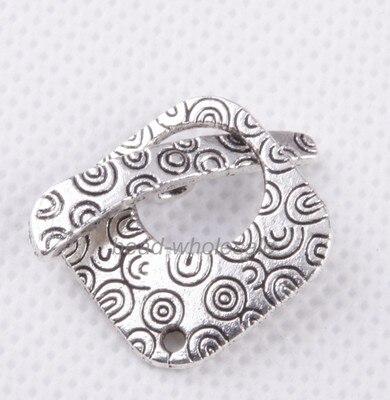 OMH wholesale 23sets Retro silver Square Tibetan silver Decorative Pattern Clasp Findings DZ262