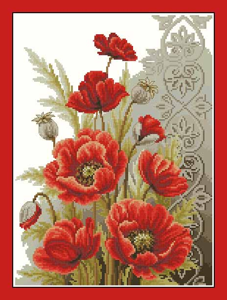 Top quality beautiful lovely counted cross stitch kit poppies and top quality beautiful lovely counted cross stitch kit poppies and swirls red poppy flower flowers vervaco in package from home garden on aliexpress mightylinksfo