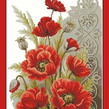 Top Quality Beautiful Lovely Counted Cross Stitch Kit Poppies and Swirls Red Poppy Flower Flowers vervaco