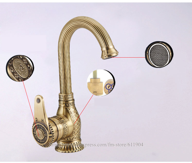 ᗛAntique Brass Bathroom faucet Kitchen Faucet Vessel Basin Sink ...