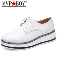 MVP BOY 2018 Brand Women Platform Oxfords Flats Shoes Patent Leather Lace Up Brand Female Footwear Shoes for women Creepers