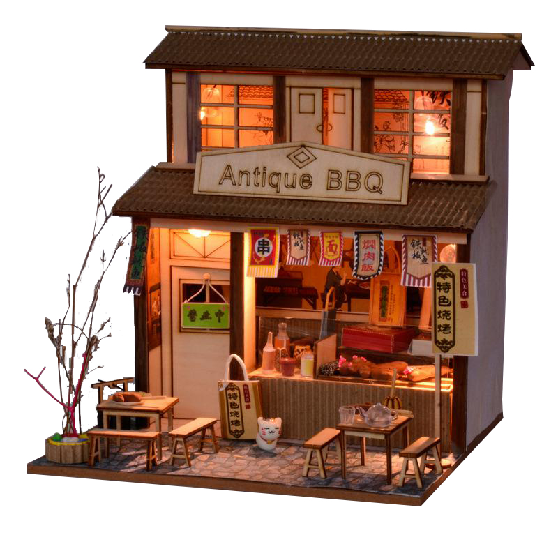 Cutebee DIY House Miniature With Furniture LED Model Building Blocks Toys For Children Casa De Boneca Chinese Folk Architecture