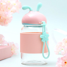 300ml Factory direct Cute creative girl's gift  glass kettle transparent heat high borosilicate bottle Free shipping