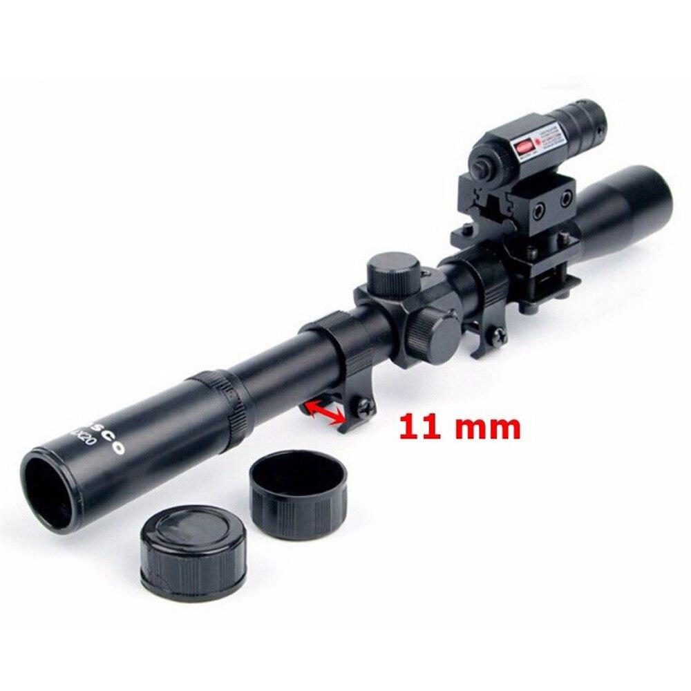 Huanting rifle óptica scope tactical besta 4x20 riflescope com ponto vermelho mira a laser e 11mm ferroviário monta para 22 armas calibre