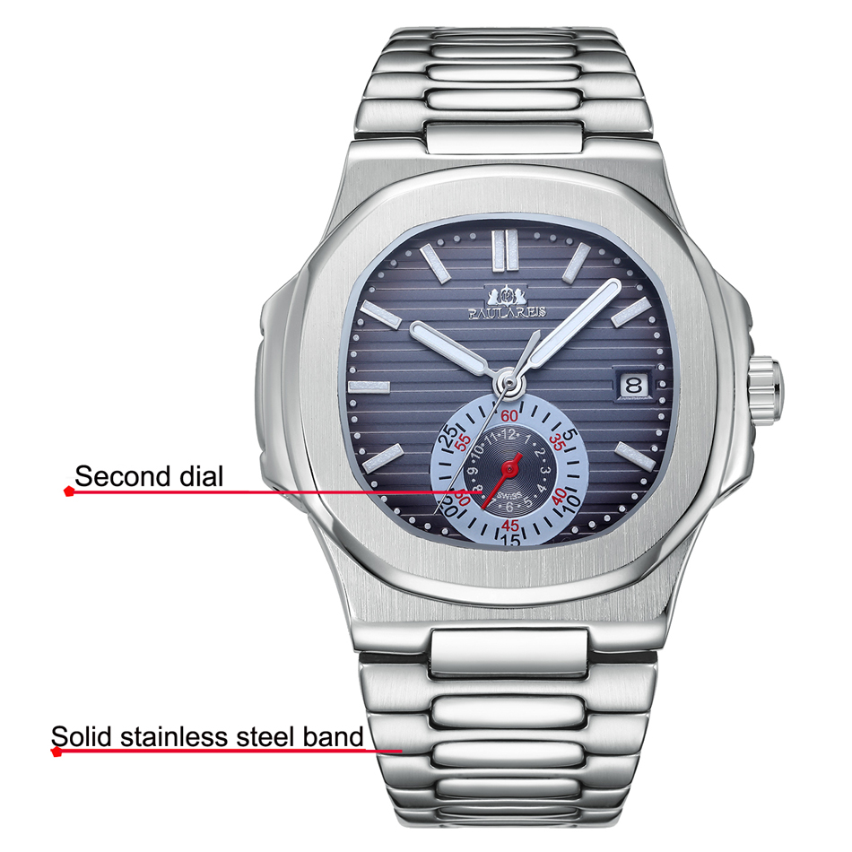 Men Automatic Self Wind Mechanical Luminous Stainless Steel Blue Grey Coffe Black White Dial Simple Small Dial Luxury Watch