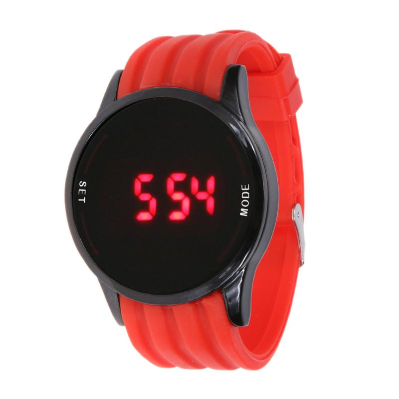 New Fashion Mens Watch LED Touch Screen Circular Surface Pattern Date Silicone Wrist Black Digital Watch Relogio Masculino Saat