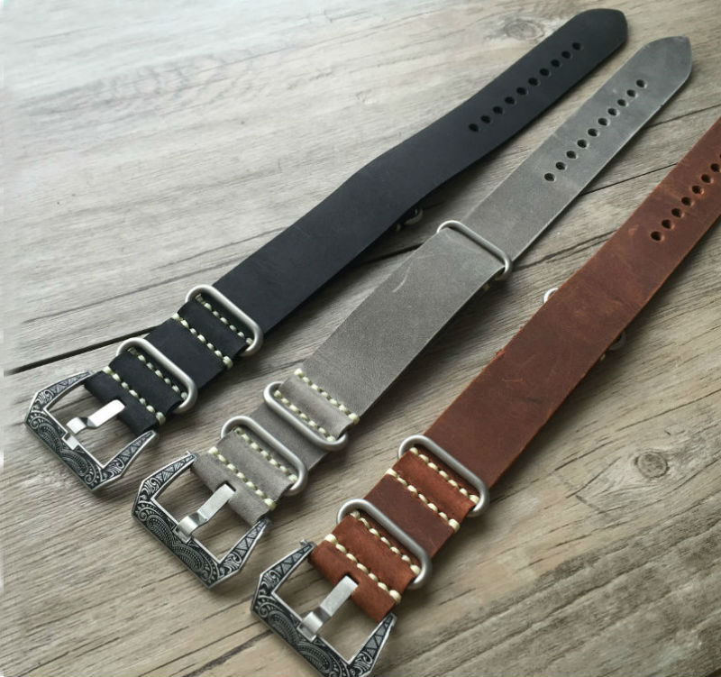 New Gray Black Black Handmade Strap For NATO 20mm 22mm 24mm 26mm Men's Crazy Horse Leather Strap With Carved Buckle new matte red gray blue leather watchband 22mm 24mm 26mm retro strap handmade men s watch straps for panerai