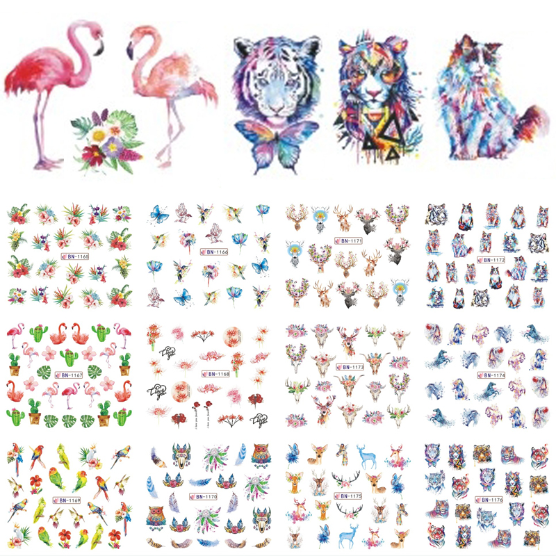 Nail Stickers Cat Flowers Flamingo Animal Water Transfer Decals Tattoo Decoration Foils Wraps Manicure Accessories TRBN1165-1176