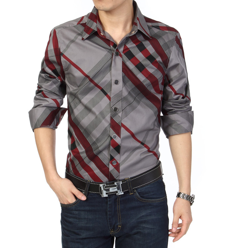 Buy mens striped shirt plaid business for Where to buy casual dress shirts