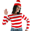 Where's Waldo Now Red&&White Stripes Cosplay Costume Adult Women T Shirt Sweater+Hat+Glasses For Christmas Halloween Party Suit