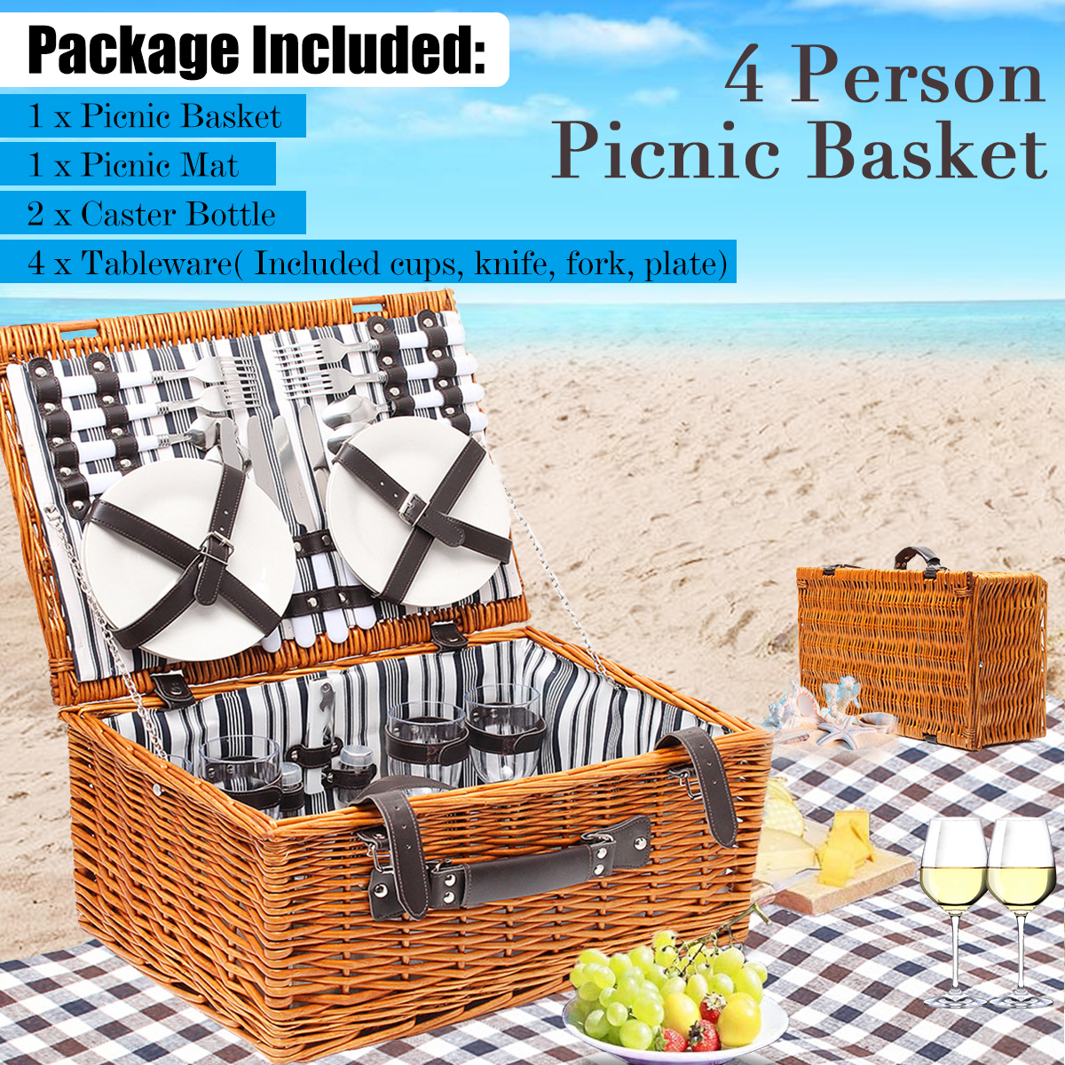 4-Person Picnic Food Drink Wicker Basket Set Outdoor Trip Travel With Picnic Mat /Tableware Set Camping Picnic Party Accessories