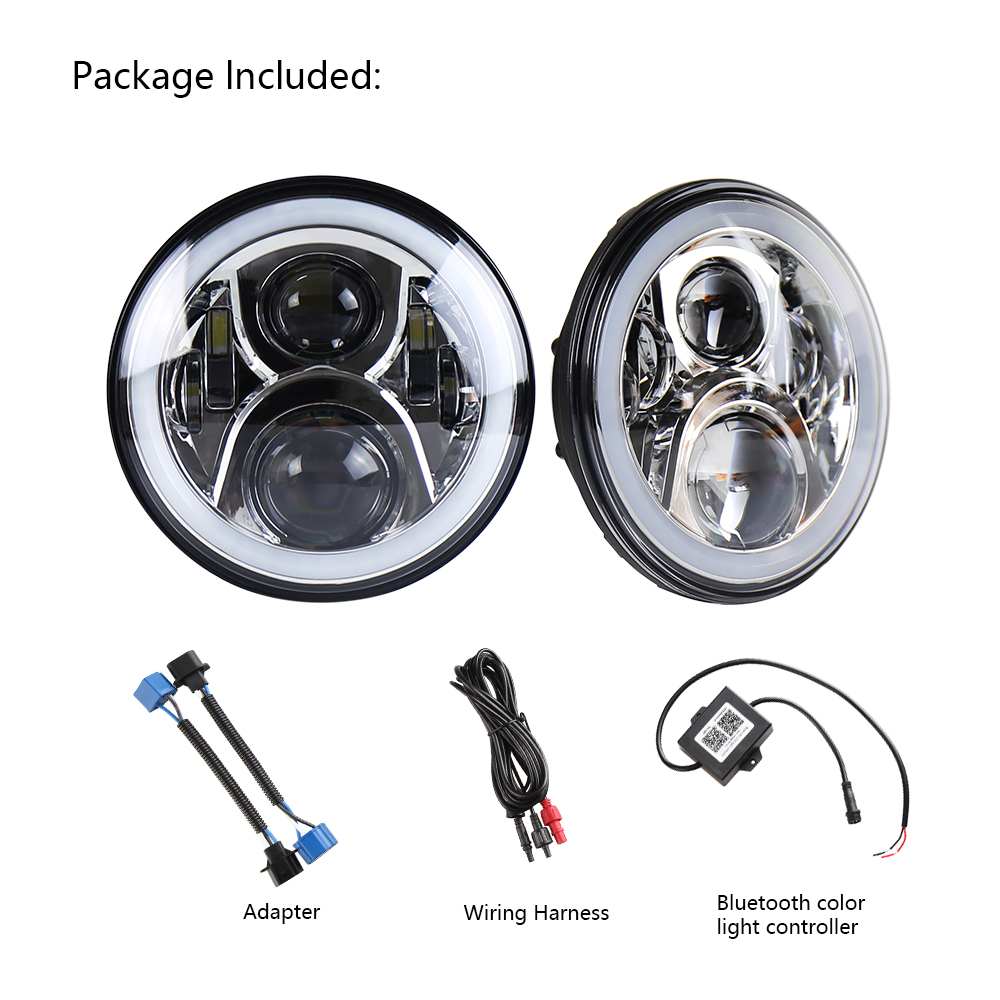 2pcs Lot 7 Inch 60w Round Led Headlight Rgb With Bluetooth For Jeep Cj Harness Wrangler 2007 2015 Jk Tj Fj Hummer Harley Motorcycle In Car Light Assembly From