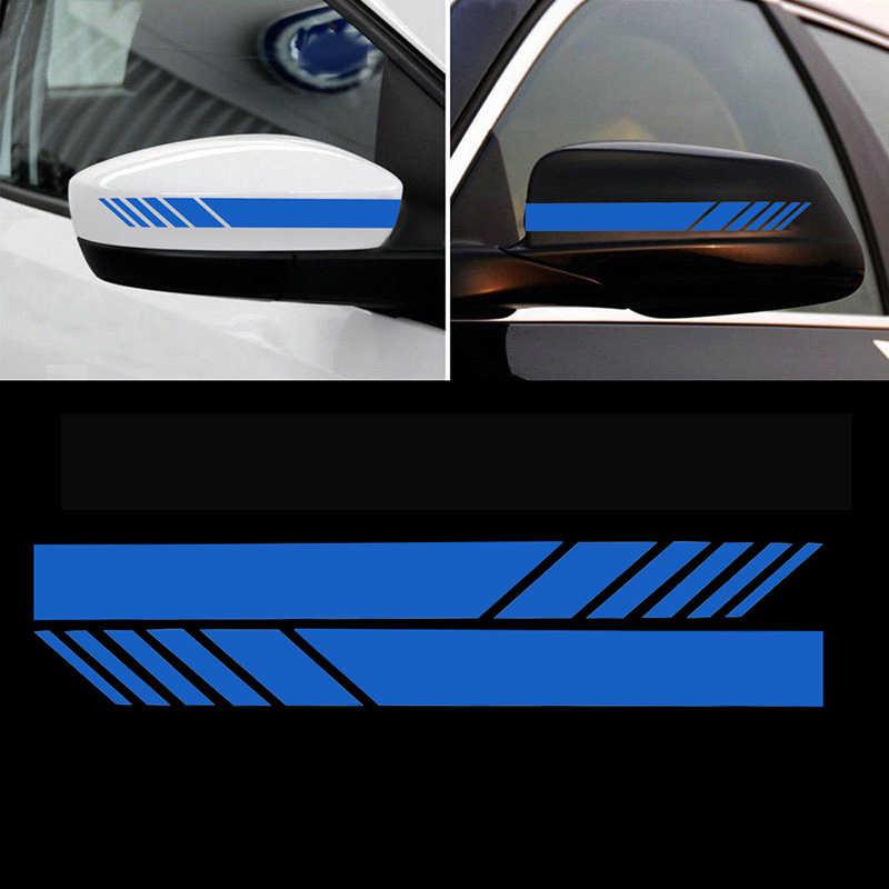 2 PCS รถจัดแต่งทรงผมด้านหลังดูกระจกสะท้อนแสงอัตโนมัติสติกเกอร์ตกแต่งรถยนต์ภายในรถอุปกรณ์เสริม