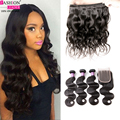 7a Brazilian Virgin Hair With Closure body Wave With Closure 3 Bundles With Closure Brazilian body wave bundles  wigs
