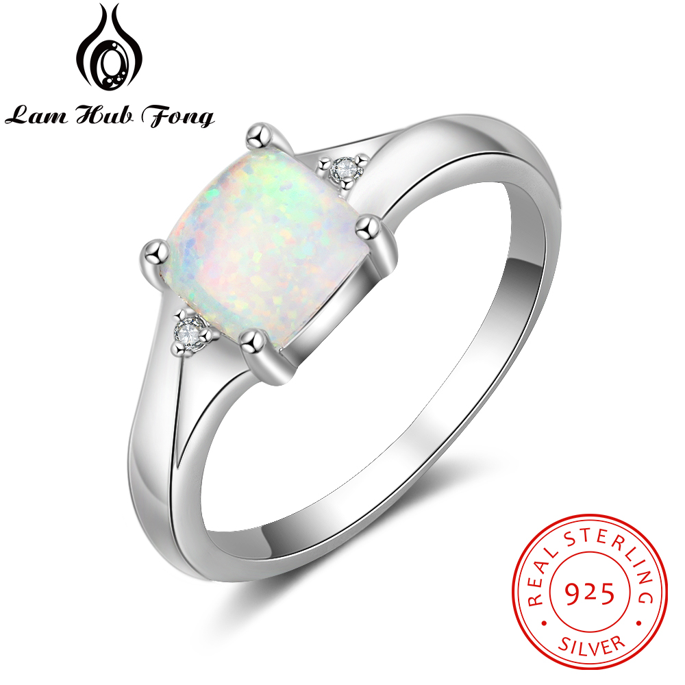 Women 925 Sterling Silver Rings Cubic Zirconia Square Created White Opal Rings For Girls Size 6 7 8 Finger Jewelry(Lam Hub Fong)