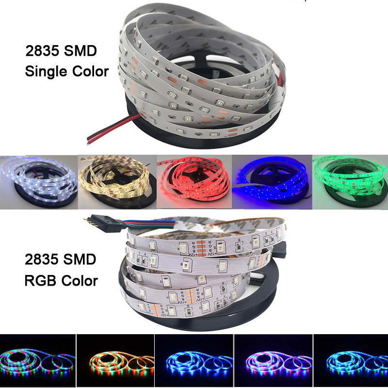 Image 2 - 5M/Roll RVB Chaud Froid Blanc Rouge Vert Bleu Jaune Flexible 2835 LED étanche bande Lumières 300 60leds/M bande diode LED RUBANlight sneakerled lights for car wheelslight green color code -