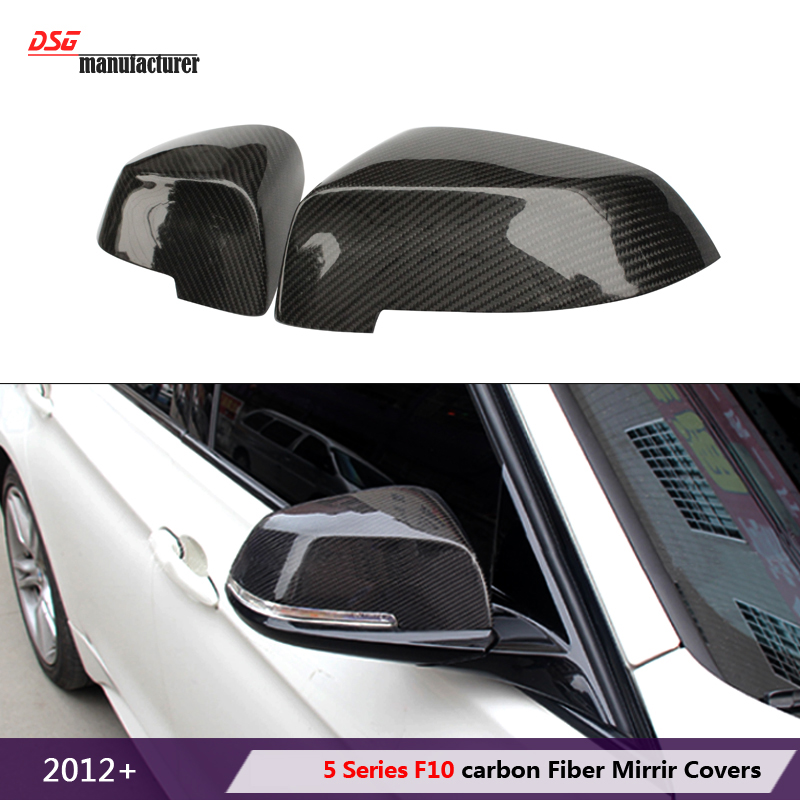 F10 Carbon Fiber + ABS Rear View Side Mirror Cover for BMW 5 Series 2013+ 523i 528i 535i 550i Replacement Part Glossy Black  right side replacement car back rear reflector warn light for bmw 5 series 520 528 530 535 550 f10 f18 2010 2013 3102 r