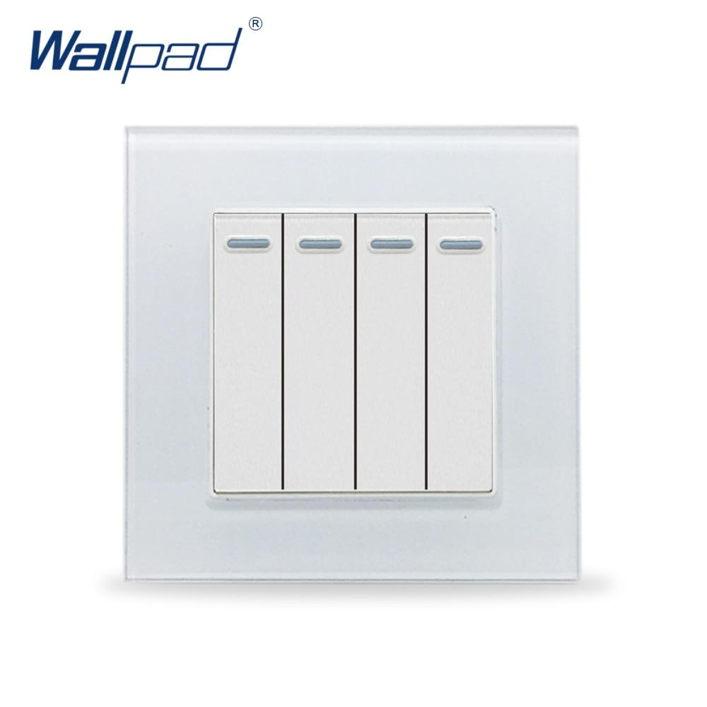 цена на 4 Gang 2 Way Wallpad Glass Panel 110V-250V EU UK Standard Fluorescent Light 4 Gang 2 Way Push On Off Electrical Switch Panel