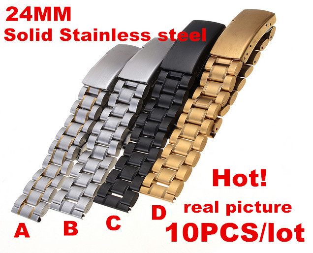 Wholesale High quality 10PCS lot 24MM Solid Stainless Steel Watch band Watch strap 4 color available